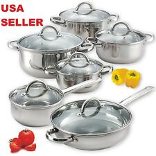 Induction 12 Piece Stainless Steel 18/10 Pots & Pans Cooking Set Nuwave Ready