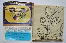 Vtg Punch Needle Rug by Numbers Eagle Burlap 34x48 Wall Hanging Vogart USA 1974