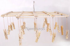 Bamboo Folding Laundry Clothes Airer Dryer Organizer Rack/22 Pegs Hanger Clip