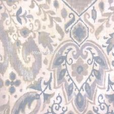 "ENVOGUE Floral Medallion WINDOW VALANCE 50"" LINED Blue Taupe Cream Silver NEW"