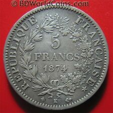 FRANCE 1874-K 5 FRANCS SILVER BORDEAUX MINT FRENCH CROWN COLLECTABLE COIN 37mm