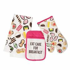 Kate Spade EAT CAKE 3 Piece Set Kitchen Dish Tea Towel Oven Mitt Pot Holder