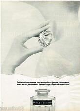 PUBLICITE ADVERTISING 105  1968  BALENCIAGA  parfum femme QUADRILLE