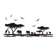 PVC Removable Africa Animal wall sticker Elephant Giraffe Tree Home Decor Art T1