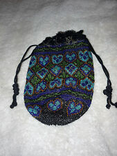 DRAWSTRING HEARTS BLUE BEADED BEADS 1900'S WRISTLET HANDBAG PURSE HAND BAG