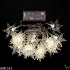 Snowflake Battery Powered 20 LED String Light Xmas Party Wedding Outdoor Decor