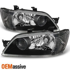 02-03 Mitsubishi Lancer LS ES Sedan & Wagon Black Headlights Replacement Pair