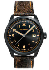 Szanto SZ2602 Men's Chronograph Vintage Military Pilot Black w Brown Leather
