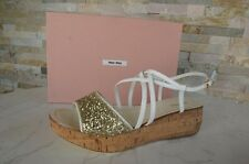 MIU MIU gr 40 Plateau Sandaletten sandals Schuhe shoes Glitter NEU UVP 290 €