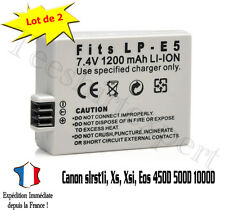 Lot 2 Batteries pour CANON LP-E5 LPE5 450D 500D 1000D Rebel T1i Xs 1200mah LP-E5
