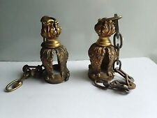 "ORNATE PAIR ANTIQUE FLORAL LAMP SHADE HOLDER 2 3/8""BRASS FIXTURE"