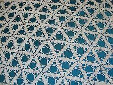 "VTG HANDMADE CROCHET BEDSPREAD Hexagon SPIDER WEB 80"" x 88"" Scalloped IVORY"