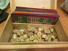 ancien jeu de loto vers 1930 cartons jetons coffret boite jouet