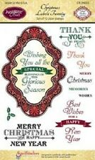 JUSTRITE CLEAR Rubber Stamps CHRISTMAS LABELS TWENTY CR-04655 Blessings Wishes