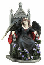 "9.25"" Dark Female Fallen Angel on Throne Gothic Statue Death Evil Fairy Decor"