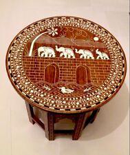 Handmade Indian Inlaid Table Stunning Elephant On Bridge Design