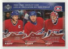 2007-08 Upper Deck McDonald's - #1 - Three Stars Checklist - Montreal Canadiens