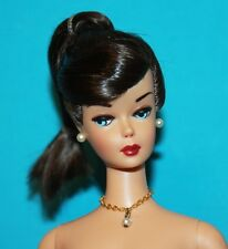 Vintage BARBIE Reproduction NUDE BRUNETTE Swirl with LOOSE Ponytail