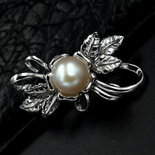 White Freshwater Pearl CZ 925 Sterling Silver Flower Brooch Pin 07623
