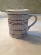 Vintage Toscany Collection Coffee Mug & Lid Japan Coffee Words Repeating Pattern