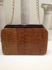 Vintage Bags By Dominic Snake Skin Large Clutch With Chain Shoulder Strap Nice!