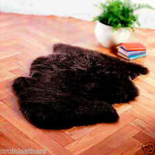 BIG !! BLACK SOFT HAIR GENUINE SINGLE SHEEPSKIN RUG sheep skin Fur Pelt - J8