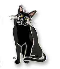 Zarah Zarlite Black Kitty CAT CHARM Silver Plated Enamel Jump Ring Right - Boxed