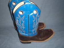 Old West Cowboy Boots Boys Girls Kids Square Thunder Oil BSY1840 size 6.5