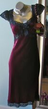 Vintage 90s BETSEY JOHNSON Burgundy Wine Velvet Silk Lace Mini Dress 10 M L