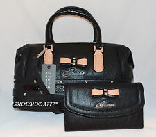 GUESS Kade Bag Purse Handbag Satchel Wallet Checkbook Set Bow Black Taupe NewNew