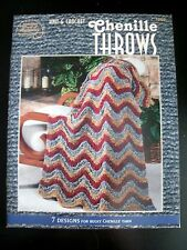 Knit & Crochet Chenille Throws Afghans #1269 American School Needlework Pattern