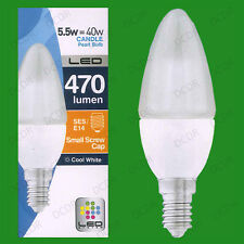 1x 5.5W LED Candle Cool White 4000K Light Bulbs SES E14 Frosted Lamps Globes