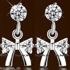 S925 Sterling Silver Ribbon Bow Tie Crystal Drop Dangle Earrings Sparking Shine