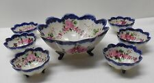 Bowl Footed Scalloped 6 Matching Small Bowls Blue Trim with Pink Flowers Vintage
