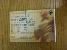 03/08/2001 Ticket: Wolverhampton Wanderers v Liverpool [Friendly] . Footy Progs