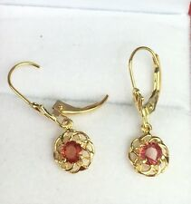 14k Solid Gold Leverback Cute One Stone Dangle Earrings, Natural Orange Sapphire