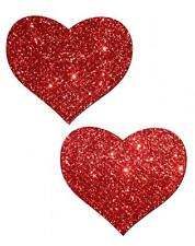 Pasties Valentines Heart Red Glitter Bling Dancer Reusable Breast Nipple Cover