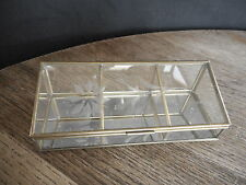 Vintage Etched Glass Brass Vanity Trinket Jewelry Box Display Case Small