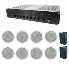 STORE/RESTAURANT BACKGROUND MUSIC & PAGING SOUND SYSTEM- AMP, 10 SPEAKERS +