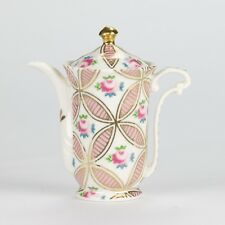 "NEW Vintage chintz Style Gold White Pink Rose Miniature Mini Teapot Mark 4"" 10cm"