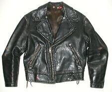 Vintage Men's Police Black Leather Motorcycle Biker Jacket, Made in USA