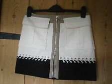 Karen millen 10 £ 105 noir crème & taupe jupe couleur bloc 10 uk6US 38Eu