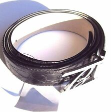 B-37993 New Brioni Black Genuine Crocodile Alligator Buckle Belt Size 46 115