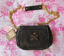 NWD Juicy Couture Bag Black Pebbled Leather Crossbody $198 retail