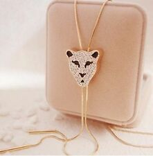 Blog Leopard head Pendants white crystal gold color necklace wedding Jewelry