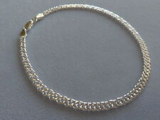 """9""""-STERLING SILVER ANKLE BRACELET-ROMBO 060-MADE IN ITALY-925"""
