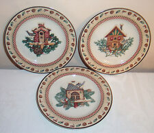 "3 Sakura China Winter Birds Pattern 8"" Salad / Dessert Plates Debbie Mumm"