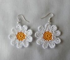 Crochet  White  Daisy  Flowers  Earrings,Silver,Accessories,Jewelry,Women,Girls