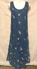 Vintage Womens Plus Size 2X Denim Jean Overall Jumper Dress Flower FREE SHIPPING