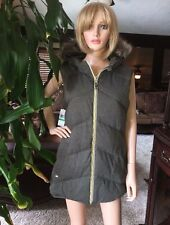 Michael Kors Reversible Faux Fur Hood Down Vest Sz L OLIVE NEW $150